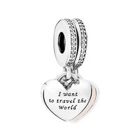 Women's PANDORA 'Travel Together Forever' Charm - Silver/ Pink