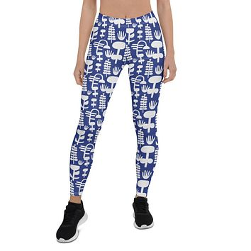 Linnea Scandinavian Blue and White Pattern Leggings