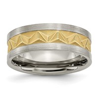 Titanium Brushed and Yellow IP-plated Mens 8mm Band Ring 7 to 12.5 Size