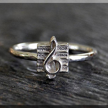 Treble Clef Sterling Silver Ring, Music Note Ring, Novelty Sterling Ring, Stackable Sterling Silver Ring, Handmade Treble Clef Stacking ring
