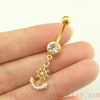 anchor and rudder Belly Button Rings,pearl belly button jewelry,beach Navel Jewelry,anchor belly ring,piercing jewelry,oceantime