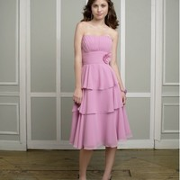 Beautiful Chiffon Strapless Party Dress With Tiered Skirt And Pleated Bodice ML881