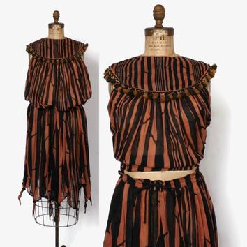 Vintage 70s Indian Cotton DRESS Set / 1970s Gauzy Striped Beaded Tassel Blouse & Skirt Matching Set