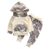 Boys clothes baby boy clothing sets kid Deer Hooded Top clothes + Pants suit for children boys kid clothes baby clothing