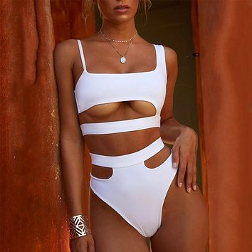 One shoulder white swimsuit female Brazilian bikini Sexy high waist swimwear Push up bathing suit women bathers