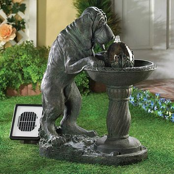 Thirsty Dog Garden Fountain - Solar or Cord Power