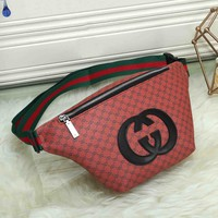 *Gucci* Leather Women Purse Waist Bag Single-Shoulder Bag Crossbody