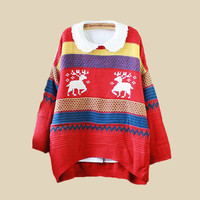 Red Double Reindeer Stripe Knit Collar Loose Sweater