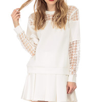 White Houndstooth Scuba Sweater