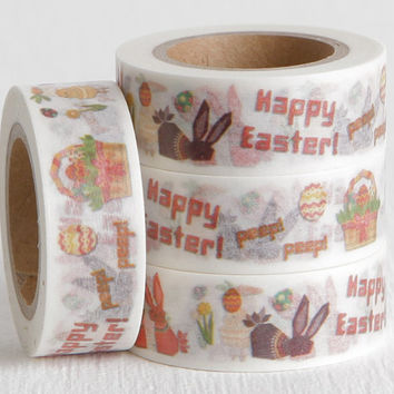 Easter Bunny Washi Tape, Easter Basket Chocolate Rabbit Paper Tape Great for DIY Easter Cards or Easter Scrapbooking, 15mm