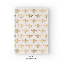 Hardcover Journal / Hardcover Notebook - Honey Bee Faux Rose Gold, Bee Pattern, Sandy, Gift for Her, NewSerenityStudio