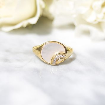 Somewhere Over the Rainbow Mother Of Pearl Signet Ring