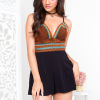 Into The Past Romper - Black