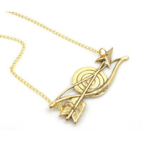 Vintage Bow and Arrow Gold Necklace