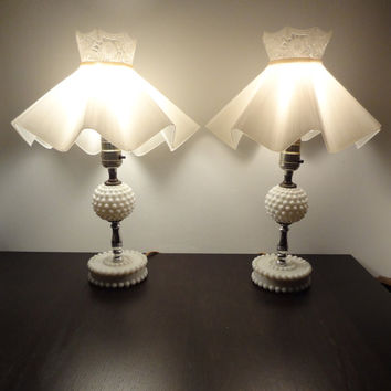 Vintage White Milk Glass Hobnail Shabby Chic Style Table/Dresser/Vanity Lamps with Plastic Shades - Set of 2 Lamps