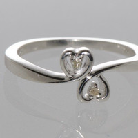 925 Sterling Silver Double Heart Diamond Ring - .02 TCW, Size 7