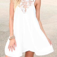 White Sleeveless Lace Cut Out Mini Dress