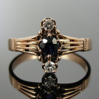 Antique Victorian Rose Gold Ring with Fine Sapphire and Diamonds RGSA227N
