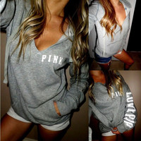 """""""PINK"""" Victoria's Secret  Casual Letter Print V-Neck Pullover Top Sweatshirt Hoodie Sweater"""