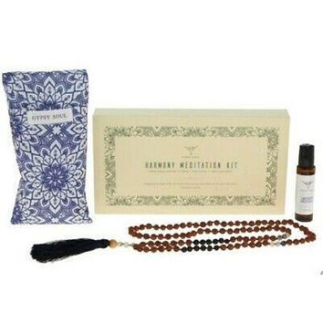 "Gypsy Soul ""Harmony"" Meditation Kit Ylang Ylang Oil Roll On Mala Beads From Bali Blue Mandala Print Weighted Eye Pillow Relax Refresh"