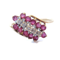 10K Yellow Gold 1.2 Carat Ruby and Diamond Cluster Ring Size 8
