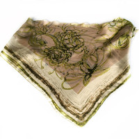 Olive Green Paisley scarf, Gift for Boss, Coworker Gift, Mother in law gift, Mens Neckerchief bandanna,  Chemo Head Scarves Silk Cover up
