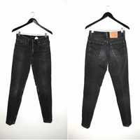 faded black LEVIS 90s vintage minimalist 538 tapered grey denim grunge levis mom jeans size 27