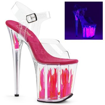 Ankle Strap Sandal Featuring Blacklight Reactive Flames-Stripper Shoes