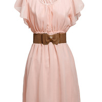 'The Taylor' Pink Chiffon Pleated Ruffle Dress