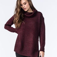 Razzle Dazzle Womens Side Slit Cowl Pullover Burgundy  In Sizes