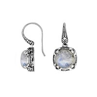 AE-8029-RM Sterling Silver Earring With Rainbow Moonstone