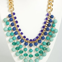 Suspend Reality Blue and Teal Statement Necklace