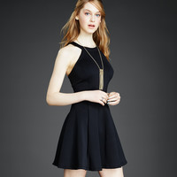 Solid High-Neck Flare Graduation Dress