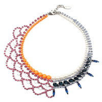 Split Personality Crystal & Pearl Necklace - Pink/ Blue Combo