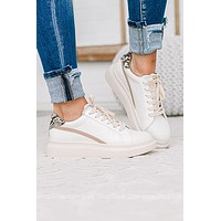 Spring White Lace Up Tennis Shoes