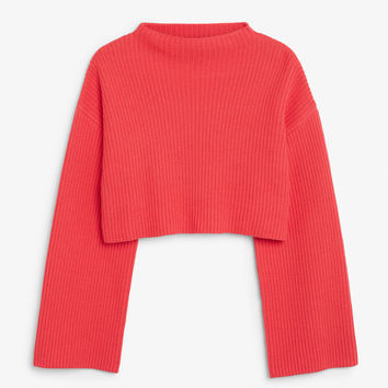Cropped knit sweater - Kiss and tell - Knitwear - Monki GB