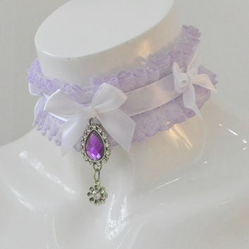 Lavender queen - fairy kei pastel kawaii cute lolita kitten pet ddlg play - pastel purple and white collar with pendant