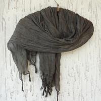 Dark Olive Green Scarves, Handwoven infinity scarf,  Natural,Organic Scarf, Fashion accessories, Women Scarves