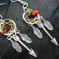 silver arrow dreamcatcher earrings turquoise and red coral in native american tribal boho hippie belly dancer and hipster style