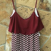 Time Will Tell Chevron Spaghetti Strap Dress in Maroon and White