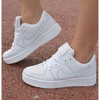 NIKE Fashion Women Men Casual Sport Running Shoes Sneakers Air force White