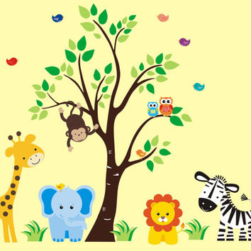 """Jungle Wall Decals, Safari Wall Decals, Zoo Animal Stickers, Removable Nursery Decals, Nursery Art Mural, Kids Room Mural - 83"""" x 97"""""""