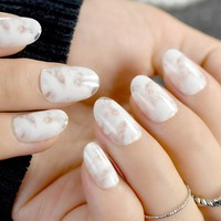 Clear Oval Fake Nails White Marble Beautiful Ladies Acrylic Nail Tips 24pcs Manicure Tools Many designs for choose