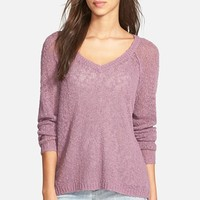 Junior Women's Sun & Shadow Slub Knit V-Neck Pullover ,