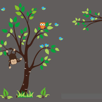 """Forest Nursery Wall Decals, Monkey Decal, Large Tree Decal, Owl Decal, Woodland Wall Mural, Repositionable Wall Art for Kid's - 83"""" x 105"""""""