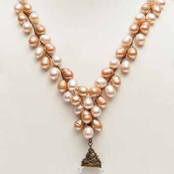 Peach and Cream Long Pearl Necklace with Crystal Pendant, Light Cream and Peach Multi Strand Beaded Pearl Necklace, Boho Pearl Necklace,