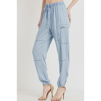 Relaxed Fit High Waisted Cargo Tencel Jogger Pants