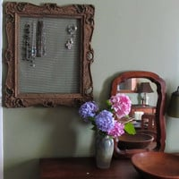 Antique Large Victorian wood frame jewelry display/organizer home decor.