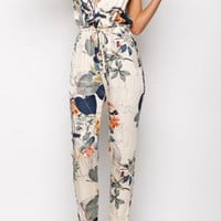 Floral Print Spaghetti Strap Backless Jumpsuit