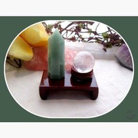 """Success"" Green Aventurine Point & Clear Quartz Sphere Reiki Set"